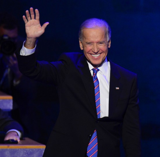 Vice President Joe Biden takes the stage at the 2012 Democratic National Convention in Times Warner Cable Arena Thursday, September 6, 2012 in Charlotte, North Carolina. (Harry E. Walker/MCT)