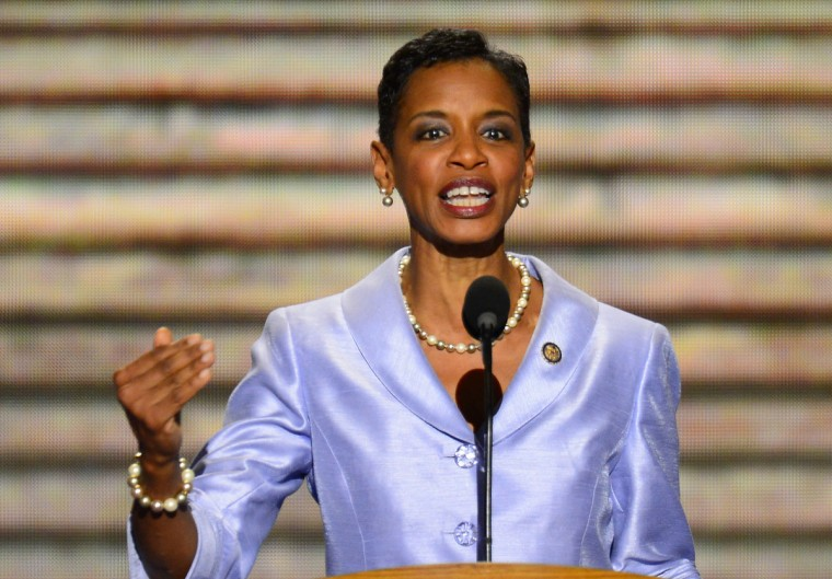 U.S. Rep. Donna F. Edwards (D-MD) speaks at the 2012 Democratic National Convention in Times Warner Cable Arena Thursday, September 6, 2012 in Charlotte, North Carolina. (Harry E. Walker/MCT)