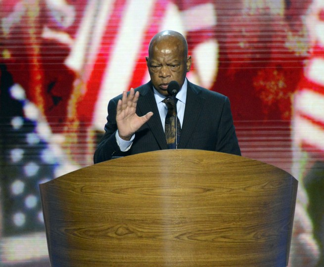Rep. John Lewis (D-GA) practices for his speech before the start of the 2012 Democratic Convention at Time Warner Cable Arena in Charlotte, North Carolina. (David T. Foster III/Charlotte Observer/MCT)