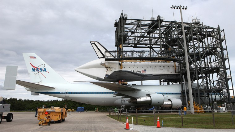The space shuttle Endeavour is lined up with its 747 carrier at the Kennedy Space Center on Friday, September 14, 2012, in Cape Canaveral. The shuttle is being moved on Monday to its final resting place in Los Angeles, California. (Brian van der Brug/Los Angeles Times)