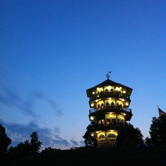 Pagoda Post Concert In The Park: After four and half years in Baltimore, I finally made it to the concerts in Patterson Park this summer. I know this is inexcusable, so I tried to take lots of pretty pictures to make up for it. This may be the only photo in my feed without a filter on it. (Credit: Devon Doane)