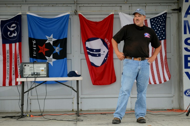 Ken Nacke, whose brother died in the United 93 crash on Sept. 11, speaks to other participants at the Patriot Day Ride. (Jon Sham/Patuxent Homestead)