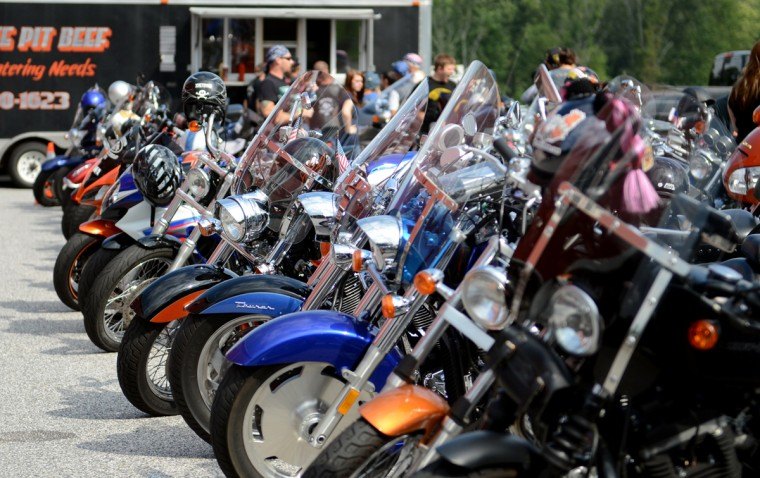 Motorcycles are lined up before the Patriot Day Ride begins. (Jon Sham/Patuxent Homestead)