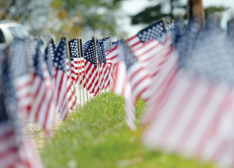 The road leading up to McAvoy's was lined with 2,977 small American flags, according to event organizer Chuck Ritz. Each flag represented a person that died in the Sept. 11 attacks. (Jon Sham/Patuxent Homestead)