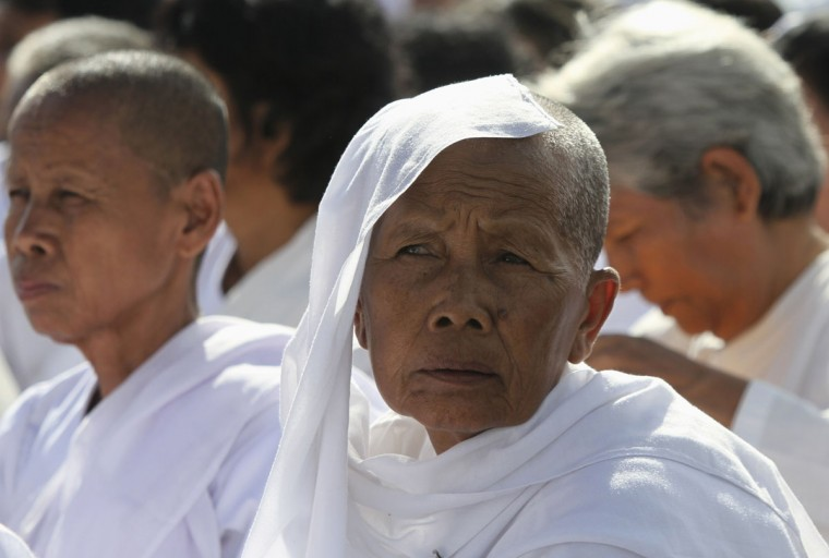 Buddhist nuns attend an event commemorating International Day of Peace near the Royal Palace in Phnom Penh, Cambodia. (Samrang Pring/Reuters)
