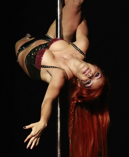 Natalia Gomez competes in the annual Colombian pole dancing contest in Medellin September 27, 2012. (Albeiro Lopera/Reuters)