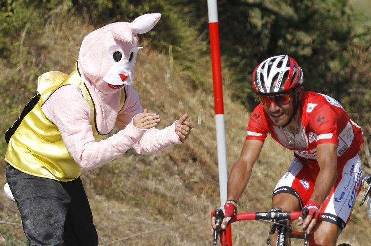 "A fan in a rabbit suit cheers on Katusha Team rider Joaquim ""Purito"" Rodriguez of Spain during the 17th stage of the Tour of Spain ""La Vuelta"" cycling race between Santander and Fuente De, September 5, 2012. (Miguel Vidal/Reuters)"