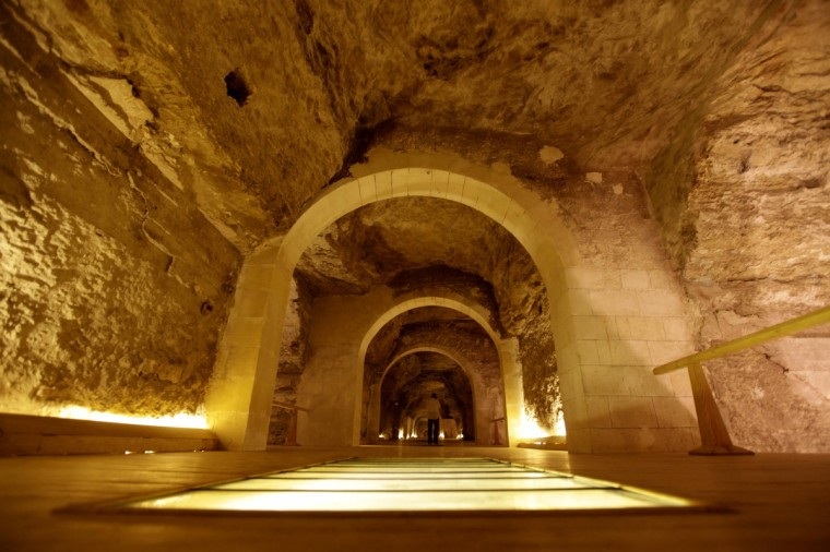 "A general view shows the main corridor inside the ""Serapuem"" tomb, near the Saqqara or ""Step"" Pyramid, south of Cairo. Egypt's antiquities authority reopened the ""Serapeum"" and ""Akhethotep & Ptahhotep"" tombs on Thursday, after the ancient tombs had undergone ten years of renovations, with an estimated cost of 2 million dollars. (Mohamed Abd El Ghany/Reuters)"
