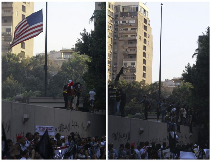 A combination picture shows protesters shouting slogans before (L) and after pulling down an American flag in front of the U.S. embassy in Cairo September 11, 2012. Egyptian protesters scaled the walls of the U.S. embassy in Cairo on Tuesday and some pulled down the American flag during a protest over what they said was a film being produced in the United States that was insulting to the Prophet Mohammad, witnesses said. (Amr Abdallah Dalsh/Reuters)