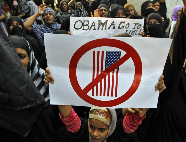 Muslim demonstrators hold placards during an anti-U.S. protest against a film they consider blasphemous to Islam, in the southern Indian city of Chennai September 17, 2012. (Babu/Reuters)