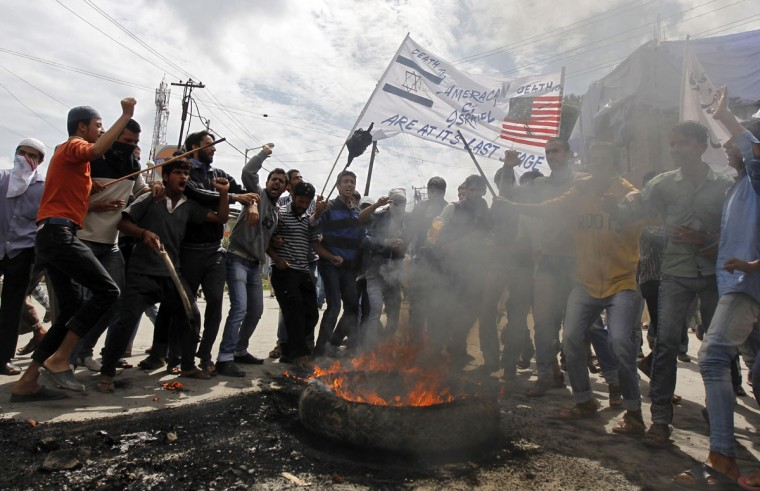 Kashmiri demonstrators shout slogans during an anti-U.S. protest against an anti-Islam film, in Srinagar September 18, 2012. (Danish Ismail/Reuters)