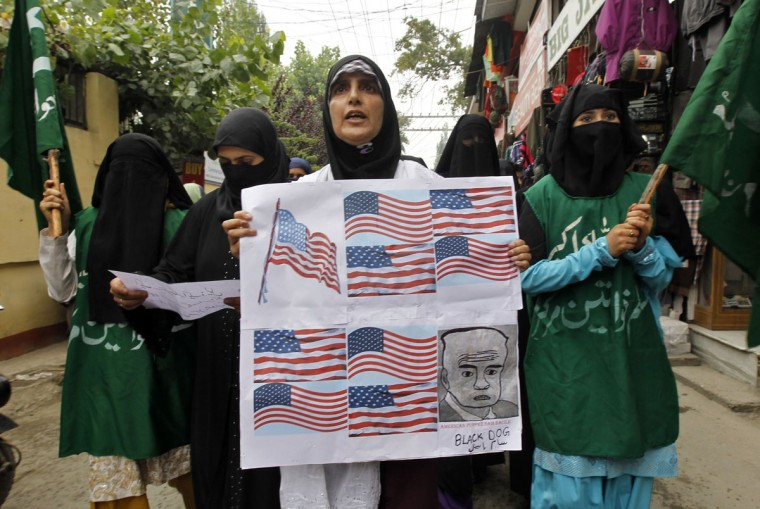 "Yasmeen Raja (C), the leader of Muslim Khawateen Markaz, a Kashmiri women's separatist group, leads a protest against the ""Innocence of Muslims"", a film they consider blasphemous to Islam, in Srinagar September 17, 2012. (Fayaz Kabli/Reuters)"