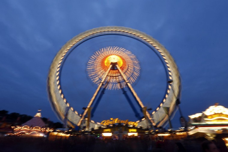 A long time exposure shows a ferris wheel at the Oktoberfest carnival in Munich, Germany, on September 22, 2012. (Michael Dalder/Reuters)