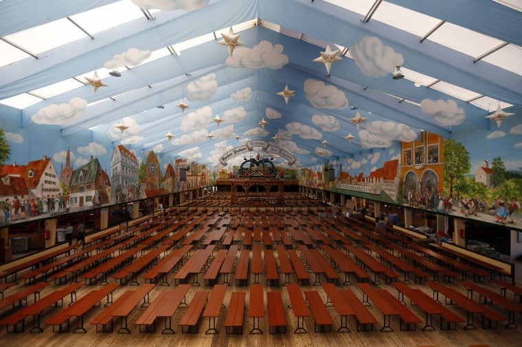 Picture shows an empty Oktoberfest beer tent four days before the opening of the beer festival in Munich. Millions of beer drinkers from around the world will come to the Bavarian capital Munich for the world's biggest and most famous beer festival, the Oktoberfest which starts on September 22, 2012. (Michael Dalder/Reuters)