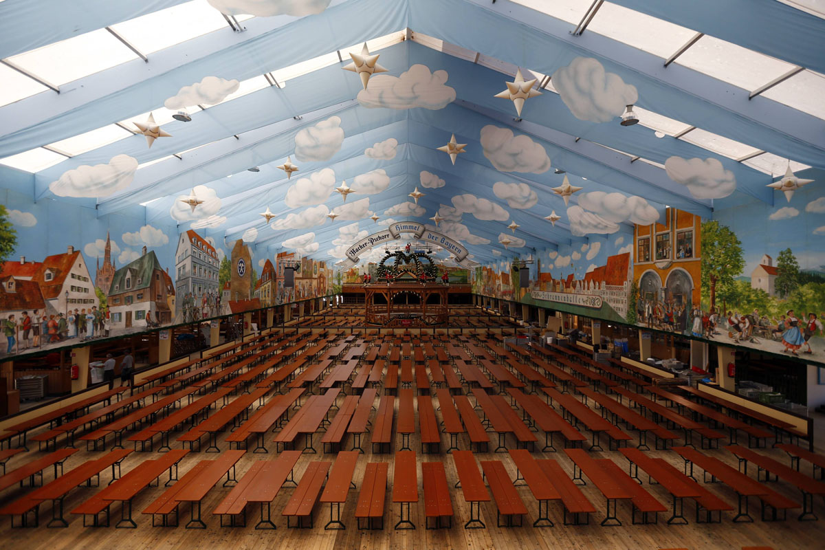 Picture shows an empty Oktoberfest beer tent four days before the opening & Picture shows an empty Oktoberfest beer tent four days before the ...
