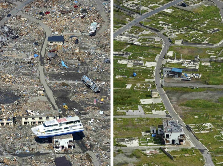 A combination photo shows a tsunami-devastated area in Otsuchi, Iwate prefecture taken April 10, 2011 (L) and September 3, 2012, released by Kyodo on September 6, 2012, ahead of the one and a half years anniversary of the March 11, 2011 earthquake and tsunami. (Kyodo/Reuters photos)