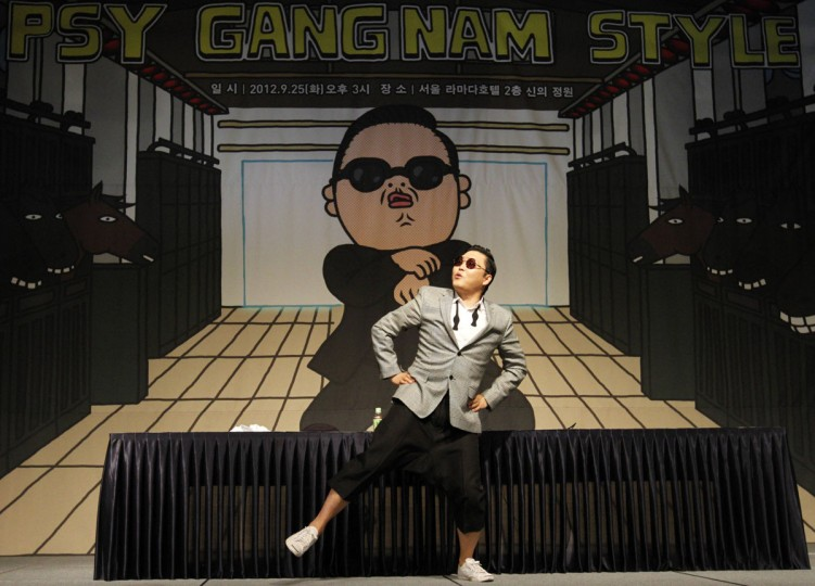 South Korean singer Psy dances after a news conference at a hotel in Seoul, South Korea. (Kim Hong-Ji/Reuters)