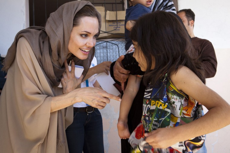 UNHCR Special Envoy Angelina Jolie meets Syrian refugees in the Bekaa Valley, Lebanon in September in this UNHCR handout photo. (Jason Tanner/Reuters photo)