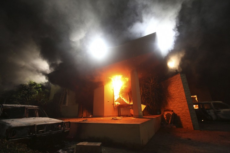 The U.S. Consulate in Benghazi is seen in flames during a protest by an armed group said to have been protesting a film being produced in the United States September 11, 2012. Armed gunmen attacked the compound on Tuesday evening, clashing with Libyan security forces before the latter withdrew as they came under heavy fire. (Esam Al-Fetori/Reuters)