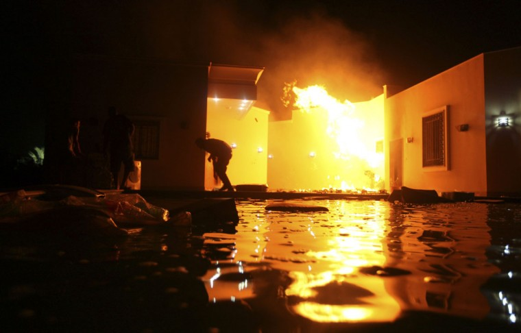 The U.S. Consulate in Benghazi is seen in flames during a protest by an armed group said to have been protesting a film being produced in the United States September 11, 2012. (Esam Al-Fetori/Reuters)
