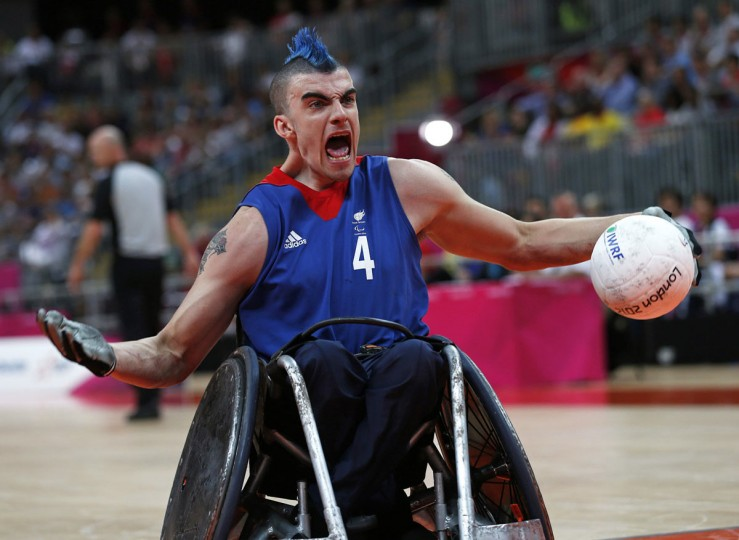 Britain's David Anthony reacts after scoring a goal during a Wheelchair Rugby match against Japan during the London 2012 Paralympic Games. (Eddie Keogh/Reuters)