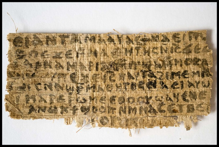An ancient papyrus written in ancient Egyptian Coptic is pictured in this undated handout image. The fragment which a Harvard scholar says contains the first recorded mention that Jesus may have had a wife is a fake, the Vatican said on Friday. (Karen L. King/Harvard University/Handout/Reuters)