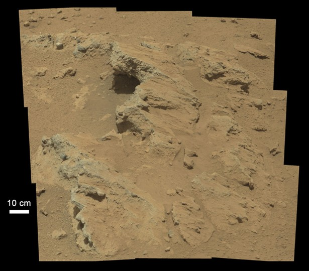 September 27, 2012: Evidence of an ancient, flowing stream on Mars is seen in this NASA handout image mosaic taken with the Curosity rover's 100-millimeter Mastcam telephoto lens September 14, 2012. (NASA/JPL-Caltech/Handout/Reuters)