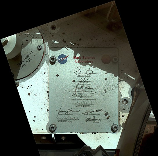 September 19, 2012: This view of Mars Curiosity's deck shows a plaque bearing several signatures of U.S. officials, including that of President Barack Obama and Vice President Joe Biden in this image taken by the rover's Mars Hand Lens Imager (MAHLI) during the rover's 44th Martian day, or sol, on Mars. (NASA/JPL-Caltech/MSSS/Handout/Reuters)