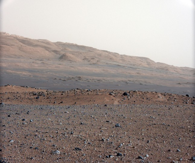 August 23, 2012: A series of test images are used to calibrate the 34-millimeter Mast Camera on NASA's Curiosity rover looking south-southwest from the rover's landing site. The gravelly area around Curiosity's landing site is visible in the foreground. Some haze obscures the view, but the top ridge, depicted in this image, is 10 miles (16.2 kilometers) away. (NASA/Handout/Reuters)