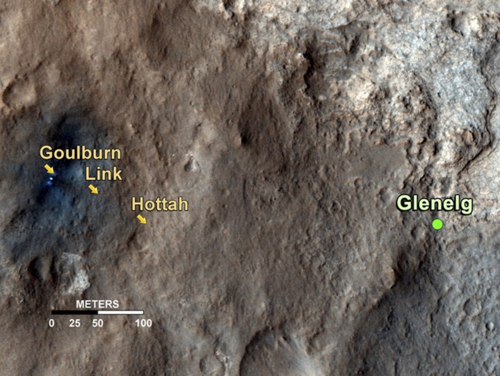 September 27, 2012: The path on Mars of NASA's Curiosity rover toward Glenelg, an area where three terrains of scientific interest converge, is seen in this undated NASA handout image taken by the High Resolution Imaging Science Experiment (HiRISE) instrument on NASA's Mars Reconnaissance Orbiter. Arrows mark geological features encountered so far that led to the discovery of what appears to be an ancient Martian streambed. (NASA/JPL-Caltech/Univ. of Arizona/Handout/Reuters)