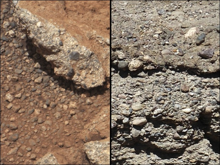 September 27, 2012: This set of NASA handout images compares the Link outcrop of rocks on Mars (L) with similar rocks seen on Earth (R). The image of Link taken September 2, 2012, was obtained by NASA's Curiosity rover and shows rounded gravel fragments, or clasts, up to a couple inches (few centimeters), within the rock outcrop. The outcrop characteristics are consistent with a sedimentary conglomerate, or a rock that was formed by the deposition of water and is composed of many smaller rounded rocks cemented together. A typical Earth example of sedimentary conglomerate formed of gravel fragments in a stream is shown on the right. (NASA/JPL-Caltech/MSSS and PSI/Handout/Reuters)