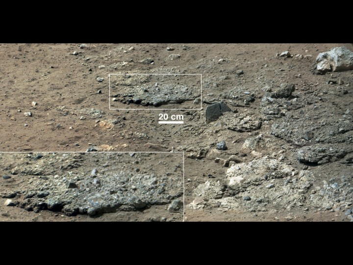 September 27, 2012: A high-resolution view of an area that is known as Goulburn Scour, a set of rocks blasted by the engines of Curiosity's descent stage on Mars is seen in this NASA handout image from NASA's Curiosity Rover taken August 19, 2012. It shows a section from a mosaic of a pair of images obtained by Curiosity's 100-millimeter Mast Camera, with three times higher resolution than previously released. Details of the layer of pebbles can be seen in the close-up. (NASA/JPL-Caltech/MSSS/Reuters)