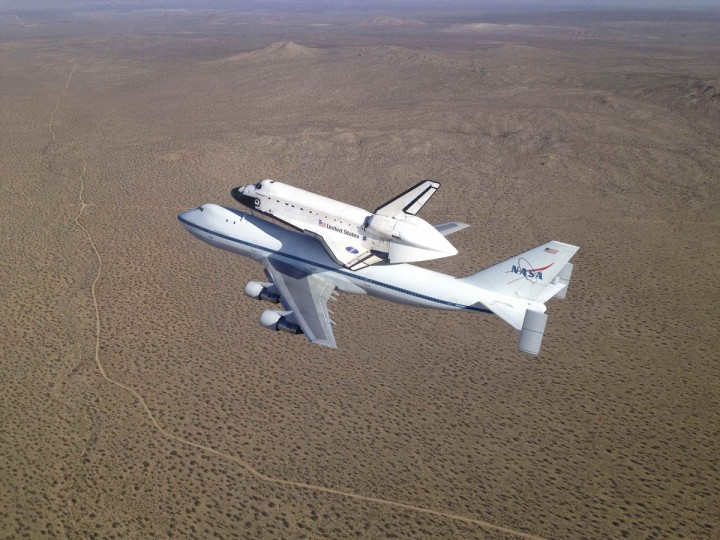 NASA's Shuttle Carrier Aircraft carrying space shuttle Endeavour soars over the high desert of Southern California following takeoff from Edwards Air Force Base. (NASA)