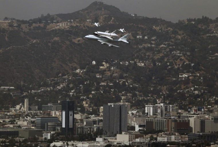 The Space Shuttle Endeavor arrives on the back of a 747 in Los Angeles to be put on display at the California Science Center. (Mike Blake/Reuters)