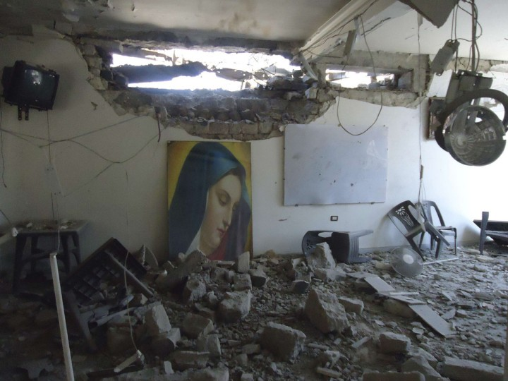 The damaged Im Al-Zinar church is seen in the old city of Homs September 4, 2012. (Shaam News Network/Reuters)