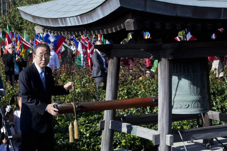 United Nations Secretary General Ban Ki-Moon rings the peace bell to recognize International Peace Day at the United Nations in New York. (Andrew Burton/Reuters)
