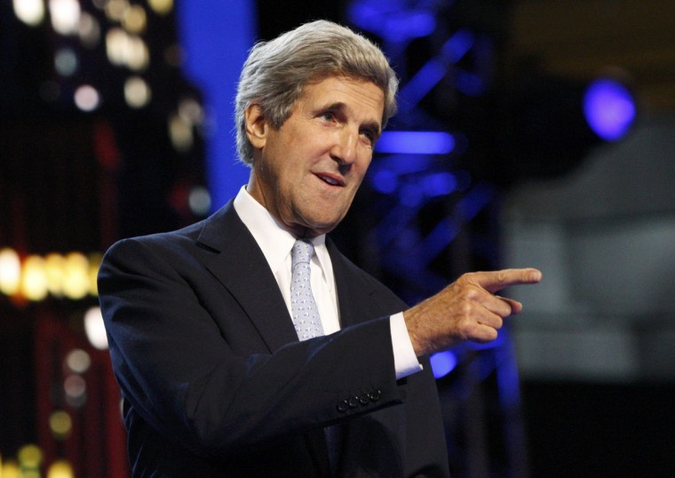 U.S. Senator and former presidential candidate John Kerry (D-MA) tours the stage area ahead of the second session of the Democratic National Convention in Charlotte, North Carolina. (Jonathan Ernst/Reuters)