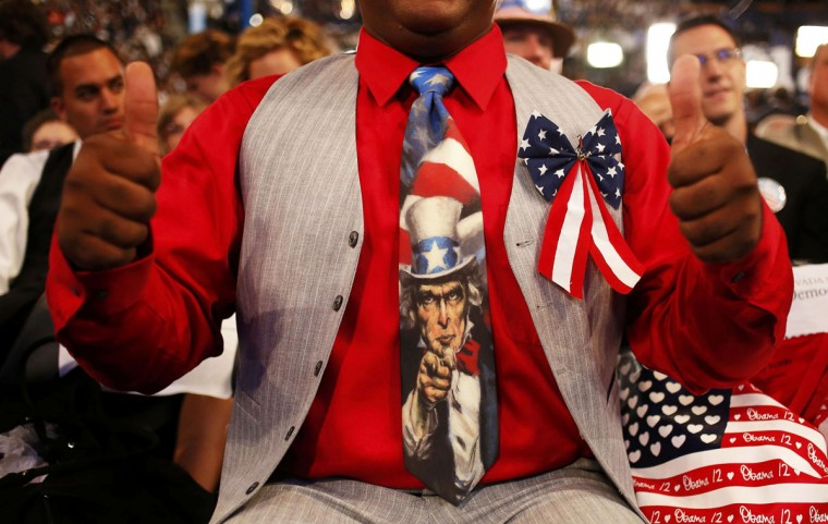 Arizona delegate Wayne Monton gives a double thumbs up as he listens to speakers during the final session of the Democratic National Convention in Charlotte, North Carolina, September 6, 2012. (Adrees Latif/Reuters)