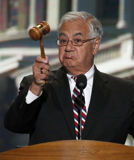 U.S. Rep. Barney Frank (D-MA) holds the gavel during the final session of the Democratic National Convention in Charlotte, North Carolina September 6, 2012. (Jason Reed/Reuters)