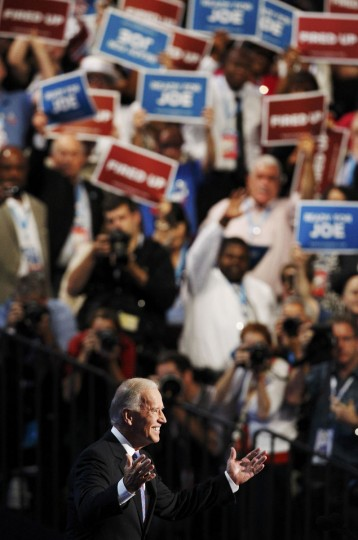 U.S. Vice President Joe Biden takes the stage to address delegates at the final session of the Democratic National Convention in Charlotte, North Carolina, September 6, 2012.