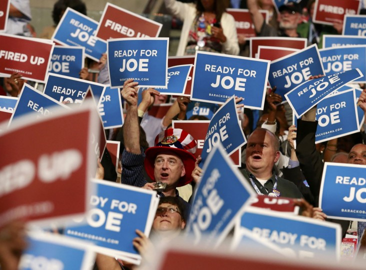 Delegates cheer U.S. Vice President Joe Biden as he addresses delegates during the final session of the Democratic National Convention in Charlotte, North Carolina, September 6, 2012. (Adrees Latif/Reuters)
