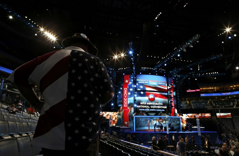 A delegate awaits the start of the first day of the 2012 Democratic National Convention in Charlotte, North Carolina, September 4, 2012. (Jim Young/Reuters)