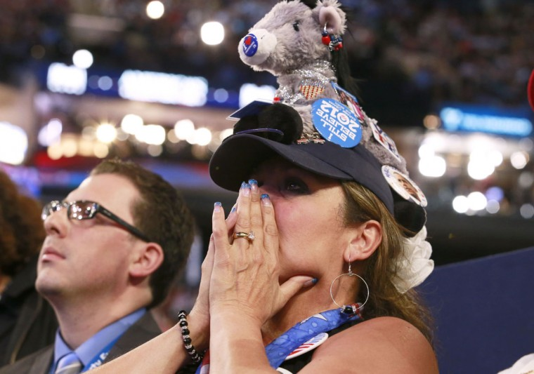 Delegate Cindy Griggs of Nevada cries as she listens to U.S. Vice President Joe Biden address delegates during the final session of the Democratic National Convention in Charlotte, North Carolina, September 6, 2012. (Adrees Latif/Reuters)