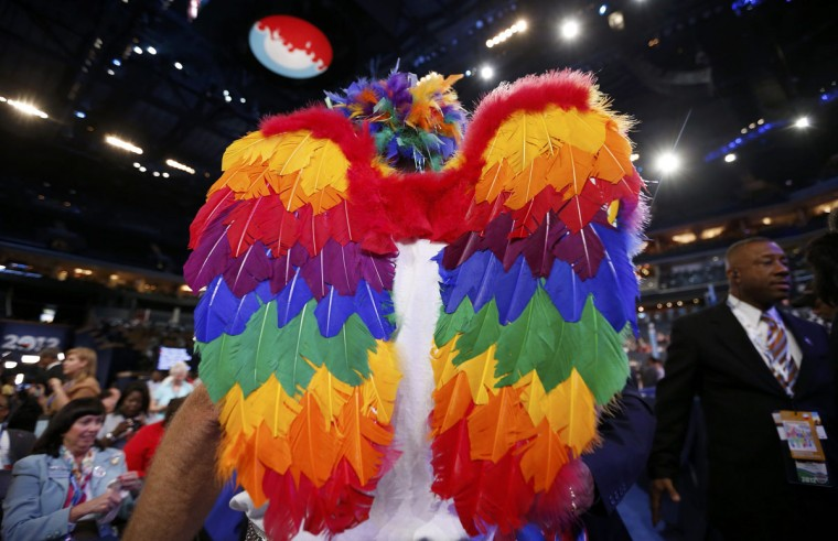 A delegate wearing wings waits for the start of the second session of Democratic National Convention in Charlotte, North Carolina. (Jim Young/Reuters)