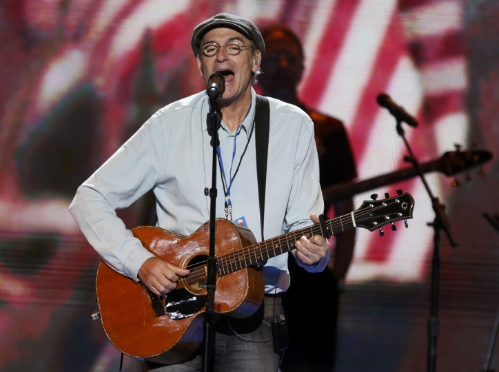 Singer James Taylor performs during a sound check prior to the final session of the Democratic National Convention in Charlotte, North Carolina, September 6, 2012. (Jason Reed/Reuters)