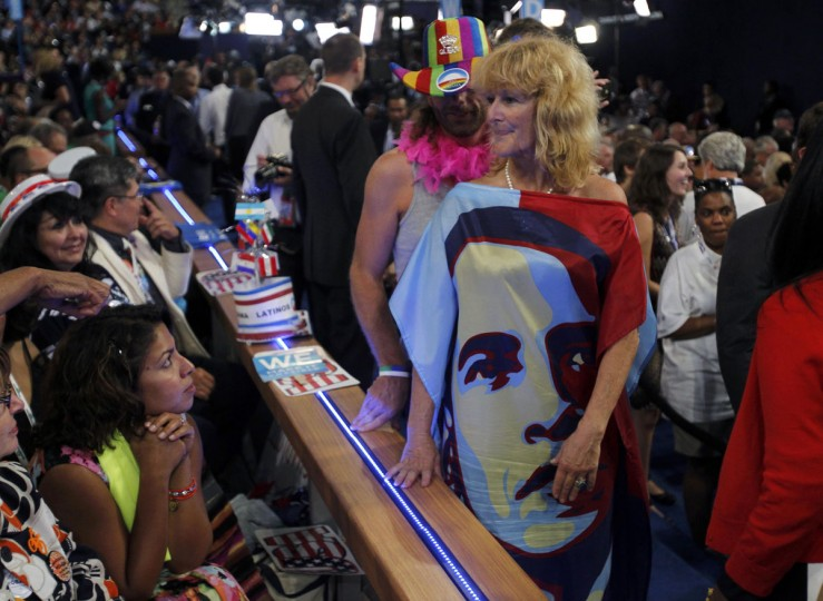 A delegate wears a dress bearing the likeness of U.S. President Barack Obama during the final session of the Democratic National Convention in Charlotte, North Carolina September 6, 2012. (Jessica Rinaldi/Reuters)