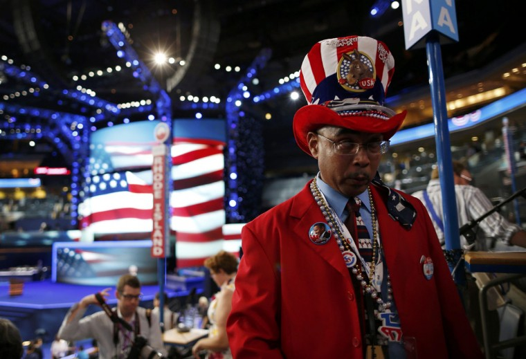 Louisiana delegate Rodney McFarland awaits the start of the first day of the 2012 Democratic National Convention in Charlotte, North Carolina, September 4, 2012. (Jim Young/Reuters)