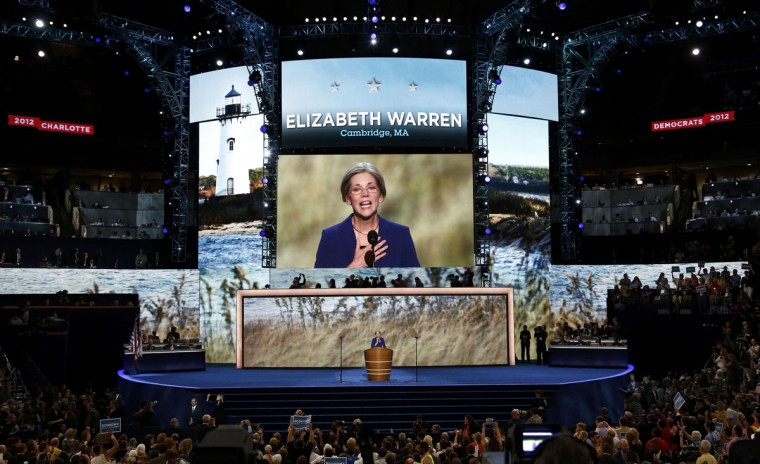 Elizabeth Warren, candidate for the U.S. Senate in Massachusetts, addresses the second session of the Democratic National Convention in Charlotte, North Carolina September 5, 2012. (Jason Reed/Reuters)