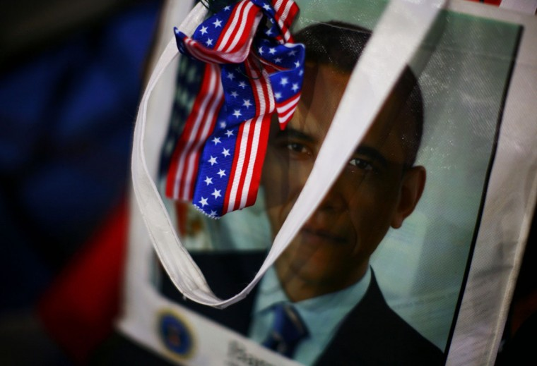 A totebag bearing U.S. President Barack Obama's image is seen prior to the final session of the Democratic National Convention in Charlotte, North Carolina September 6, 2012. (Eric Thayer/Reuters)