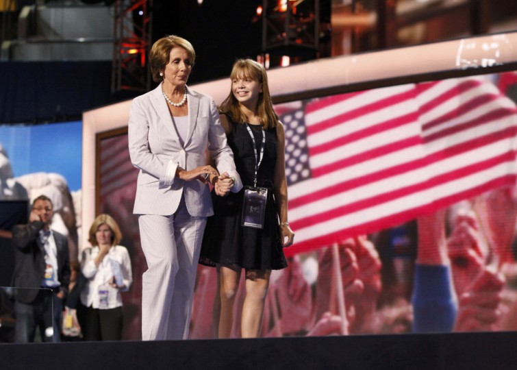 House Minority leader Nancy Pelosi tours the stage with her granddaughter Madeline Prowda (R) the day before the start of the Democratic National Convention in Charlotte, North Carolina, September 3, 2012. (Jonathan Ernst/Reuters)